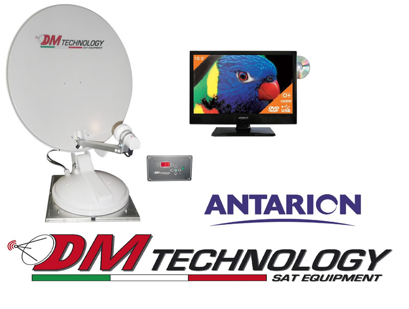 Antenna Satellitare Automatica 'DM TECHNOLOGY' 65 + TV 18,5' LED ANTARION HD TV619 con decoder SAT/DTT e DVD