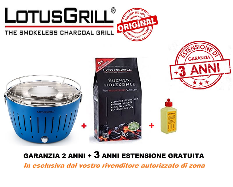 LOTUS GRILL - BARBEQUE PORTATILE A CARBONELLA - KIT PROMO LotusGrill + carbonella faggio 1 kg + gel combustibile 200ml + 3ANNI ESTENSIONE GARANZIA GRATUITA (L'originale) - BLU