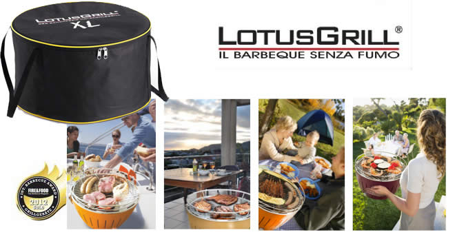 KIT BBQ LOTUSGRILL XL ARANCIONE + CARBONELLA FAGGIO 1 KG + GEL COMBUSTIBILE 200ML