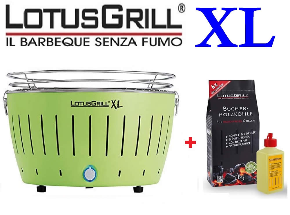 KIT BBQ LOTUSGRILL XL VERDE + CARBONELLA FAGGIO 1 KG + GEL COMBUSTIBILE 200ML