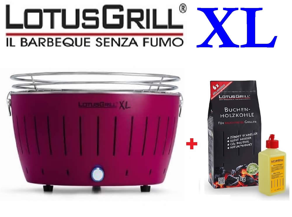 KIT BBQ LOTUSGRILL XL VIOLA + CARBONELLA FAGGIO 1 KG + GEL COMBUSTIBILE 200ML